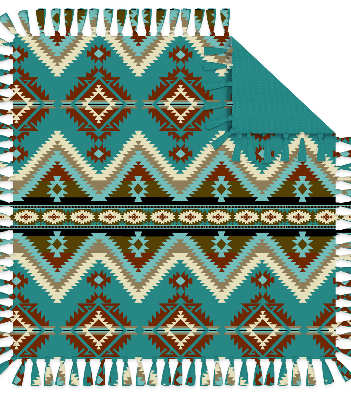 "No Sew Fleece Throw 72""-Teal Aztec"