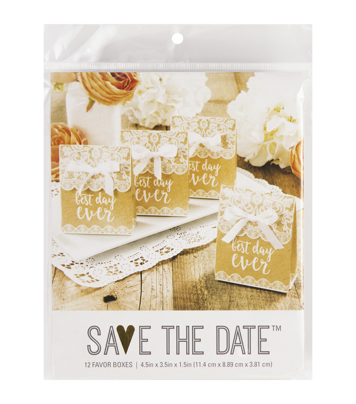 Save The Date Pack of 12 Lace Favor Box-Best Day Ever