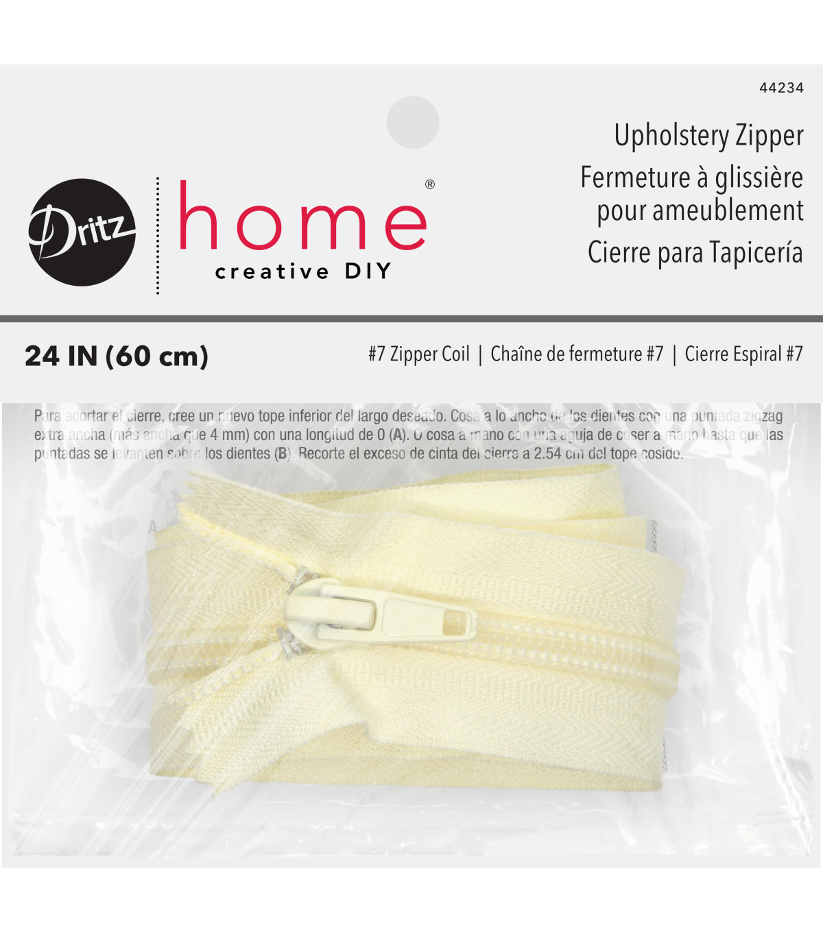 Dritz Home Nylon Upholstery Zipper Cream 24\u0022