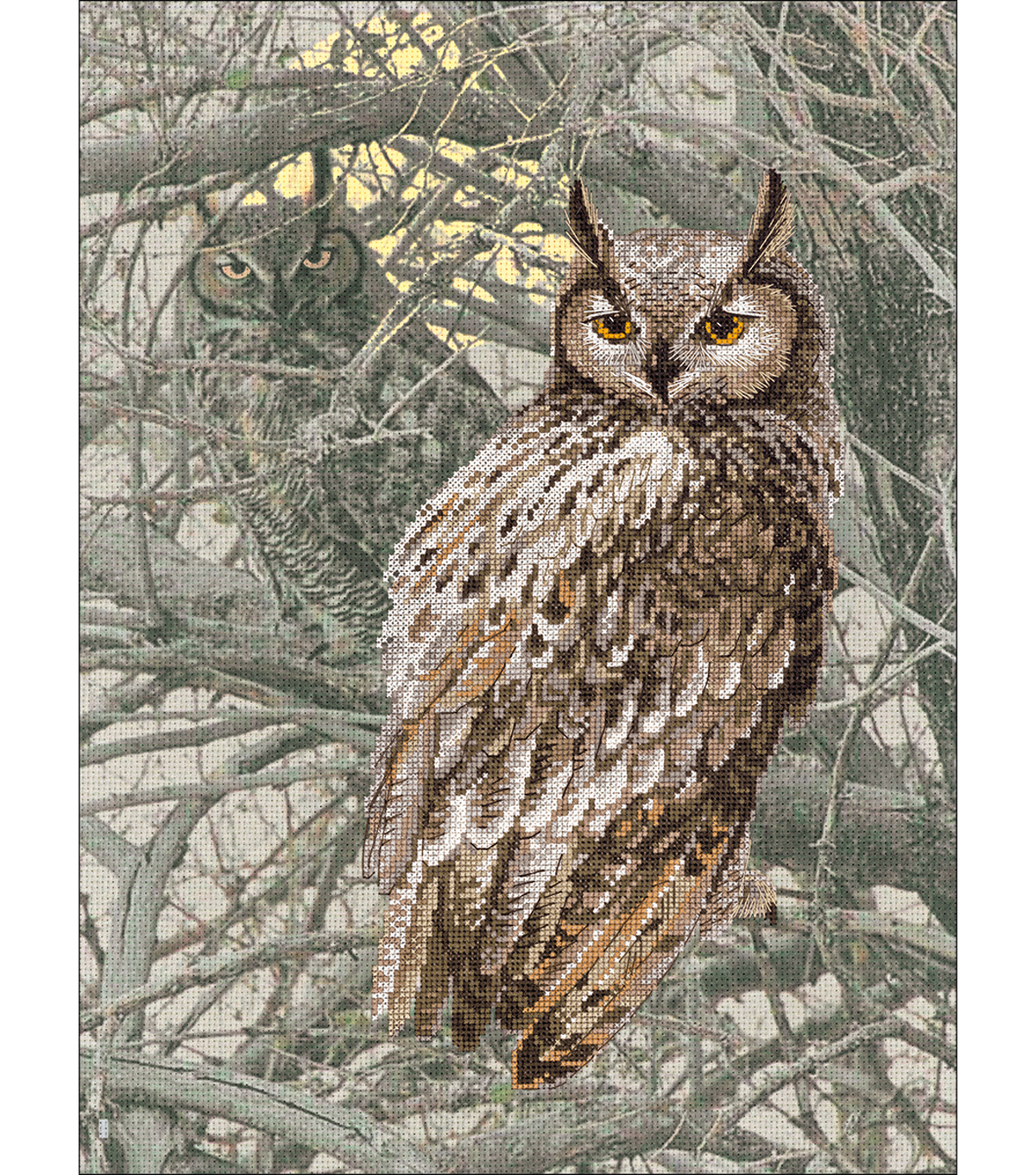 Eagle Owl Stamped Cross Stitch Kit 14 Count
