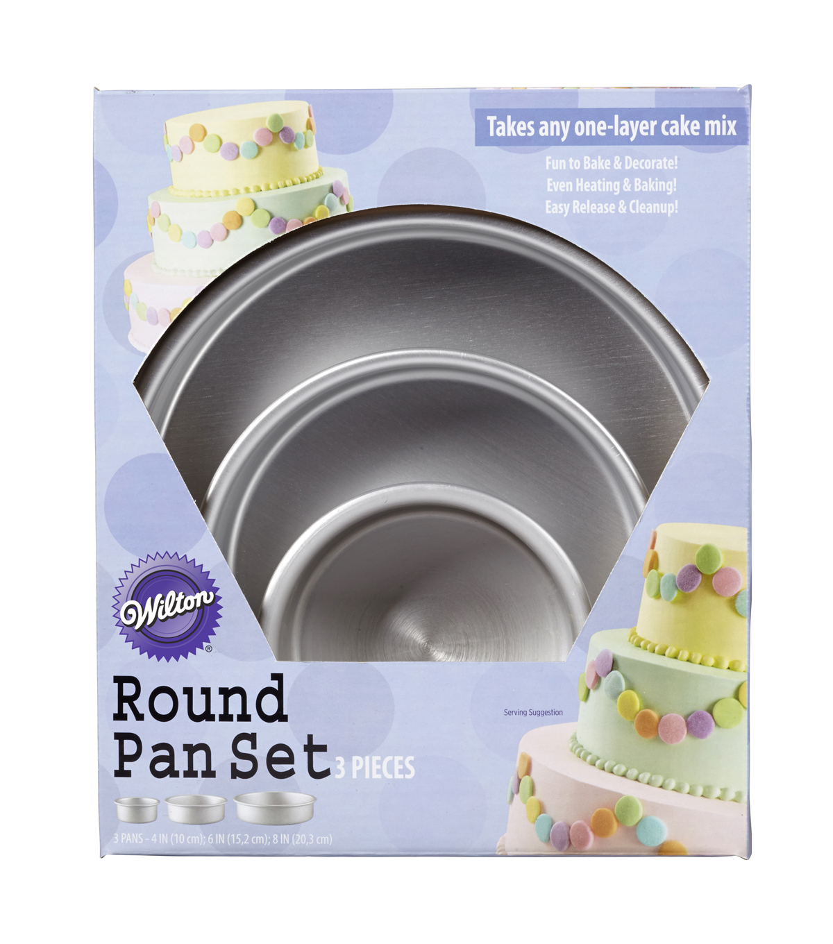 Wilton® Performance Cake Pan Set 3pc-Round 4\u0022, 6\u0022 & 8\u0022