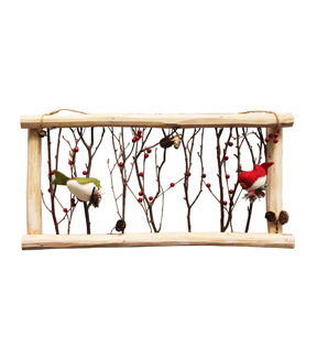 Maker\u0027s Holiday Wooden Frame with Birds Wall Decor