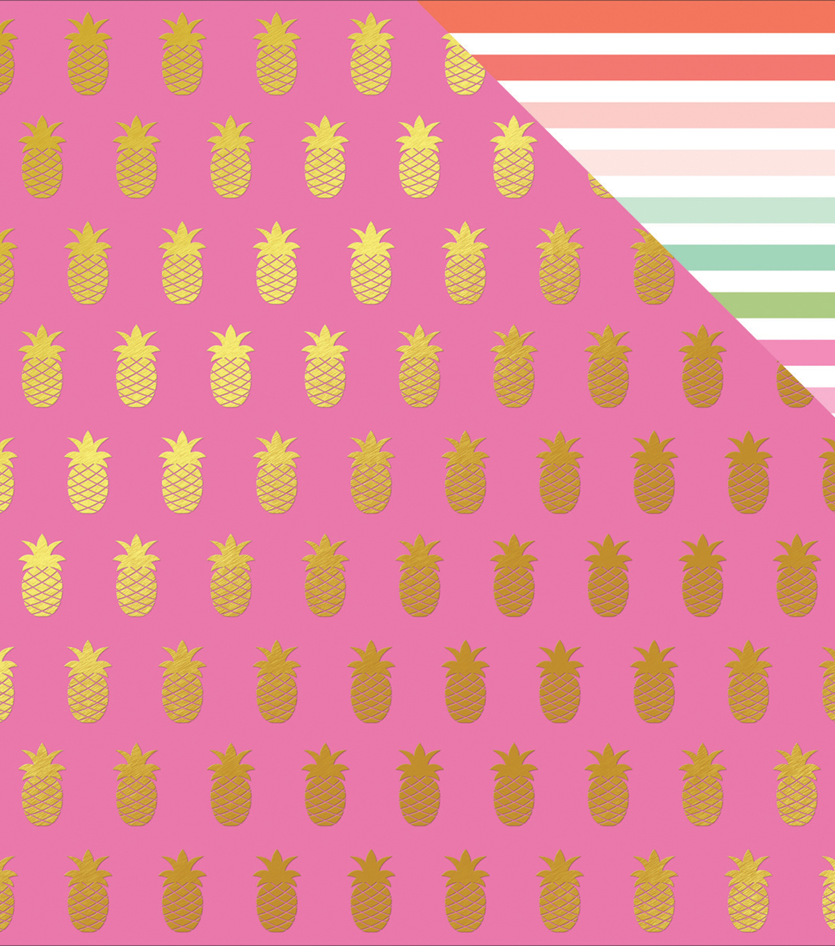 Palm Beach Foiled Double-Sided Cardstock 12\u0022X12\u0022-Pineapple & Gold Dot