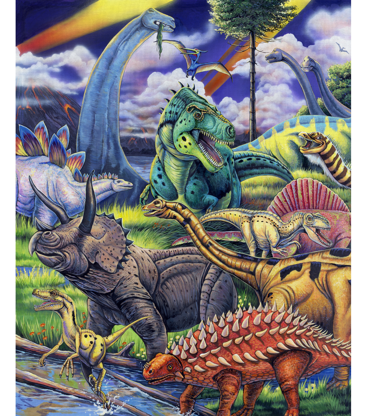 Novelty Cotton Fabric Panel 44\u0022-The Dinosaur