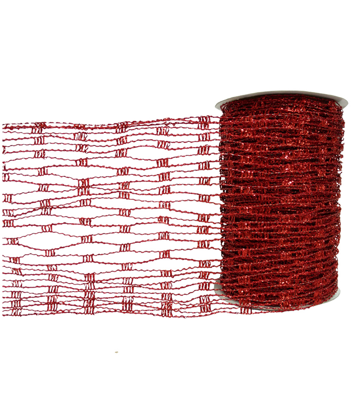 Blooming Holiday Expandable Mesh Ribbon 6\u0027\u0027x30\u0027-Red