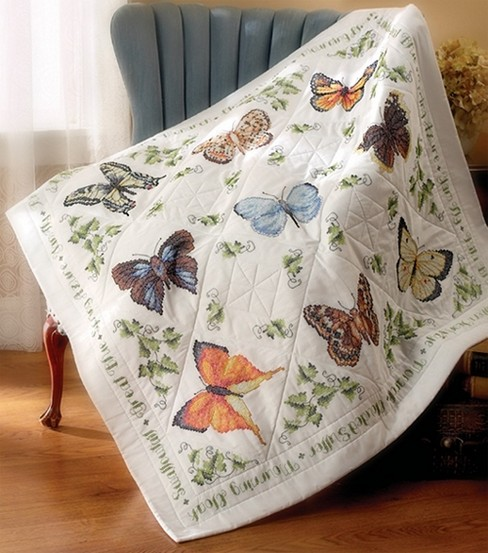 Bucilla Lap Quilt Stamped Cross Stich Butterfly