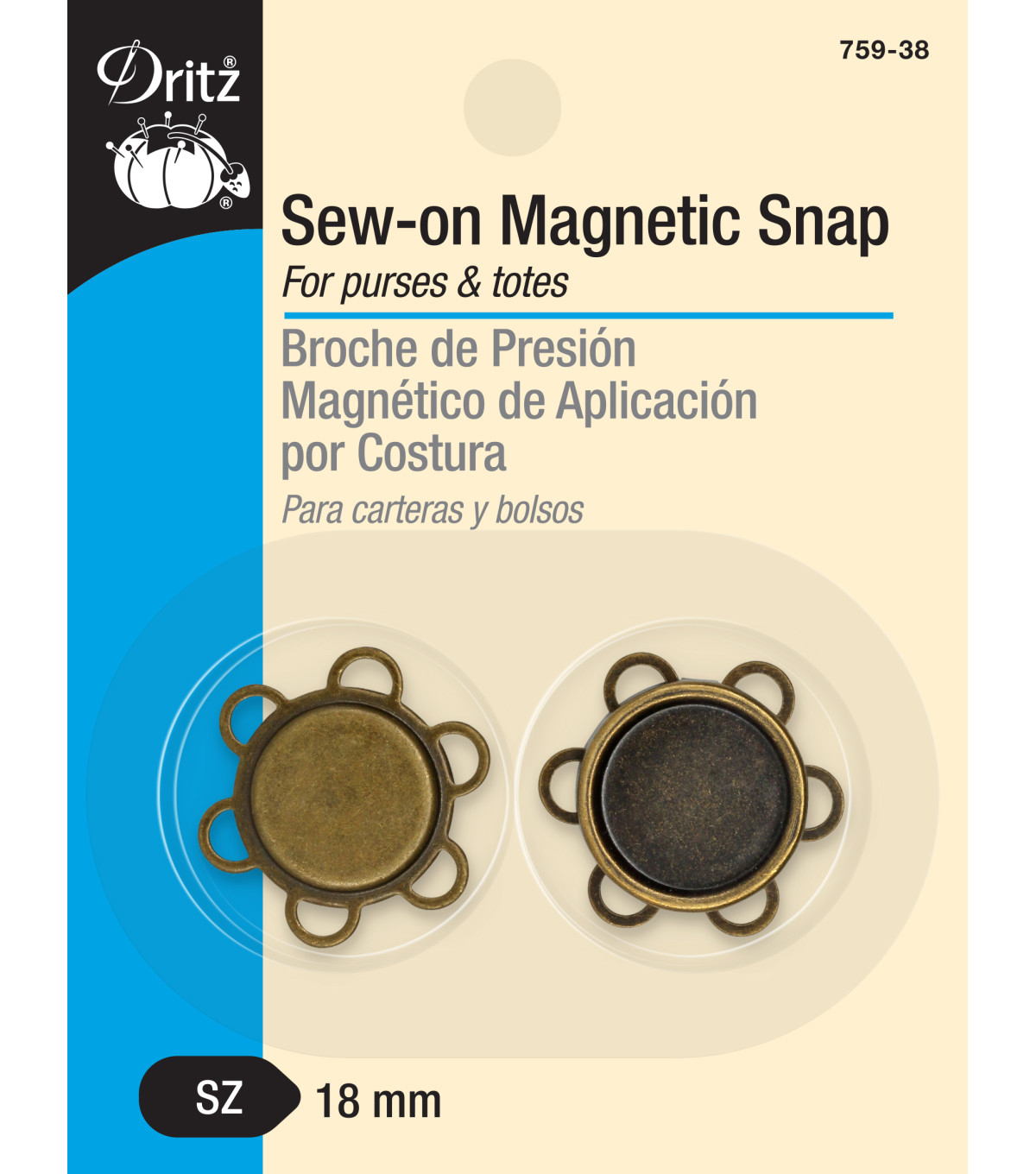 Dritz-Sew-On Magnetic Snap Brass