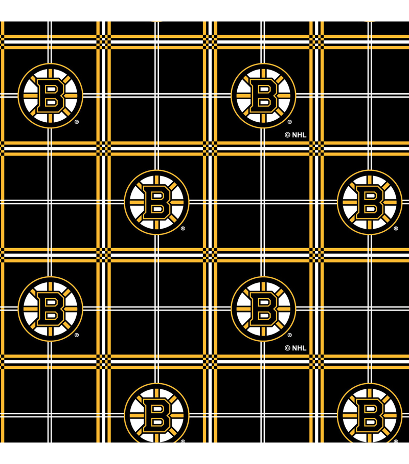 Boston Bruins Flannel Fabric 44\u0022-Plaid