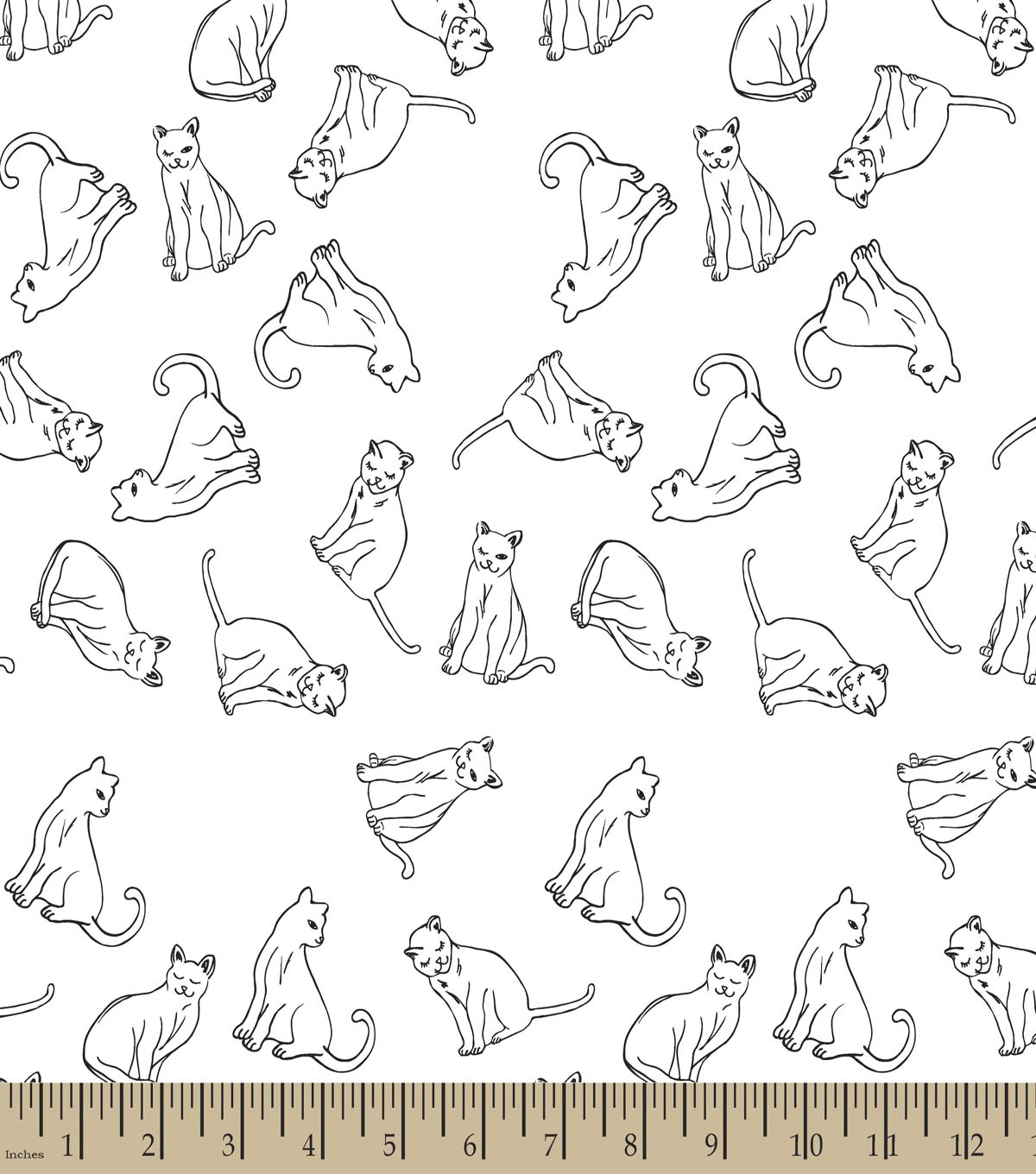 Cat Line Art Print Fabric