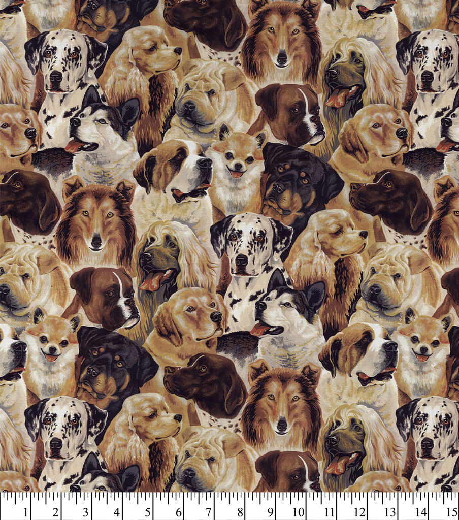 Novelty Cotton Fabric 44\u0022-Dogs Allover