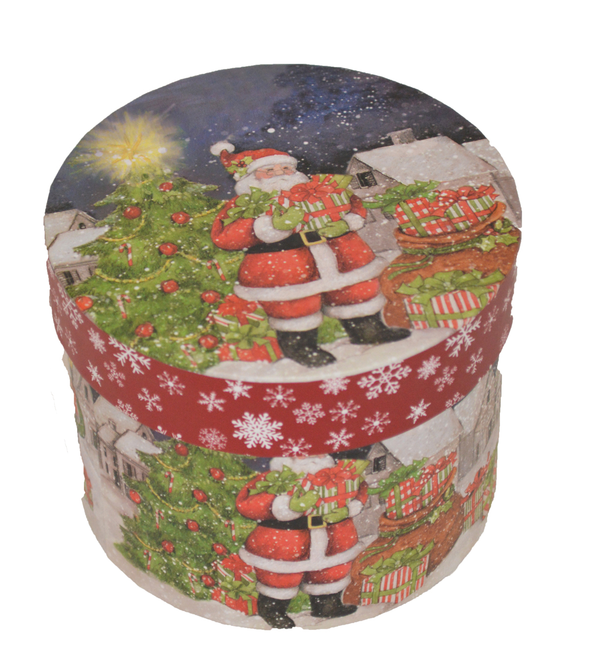 Maker\u0027s Holiday Small Round Box-Santa & Tree