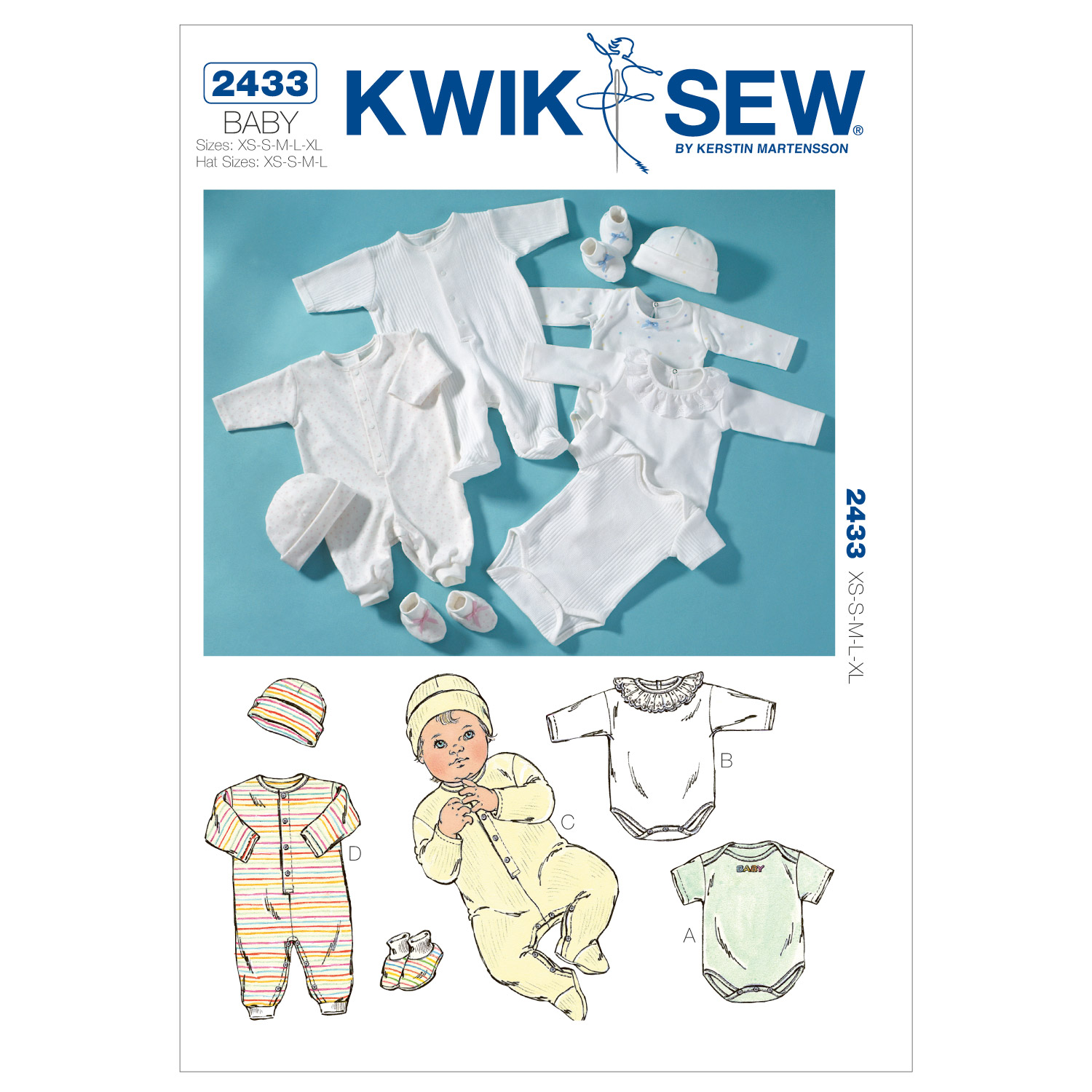 Kwik Sew Pattern K2433 Infants\u0027 Romper & Jumpsuits-Size XS-XL