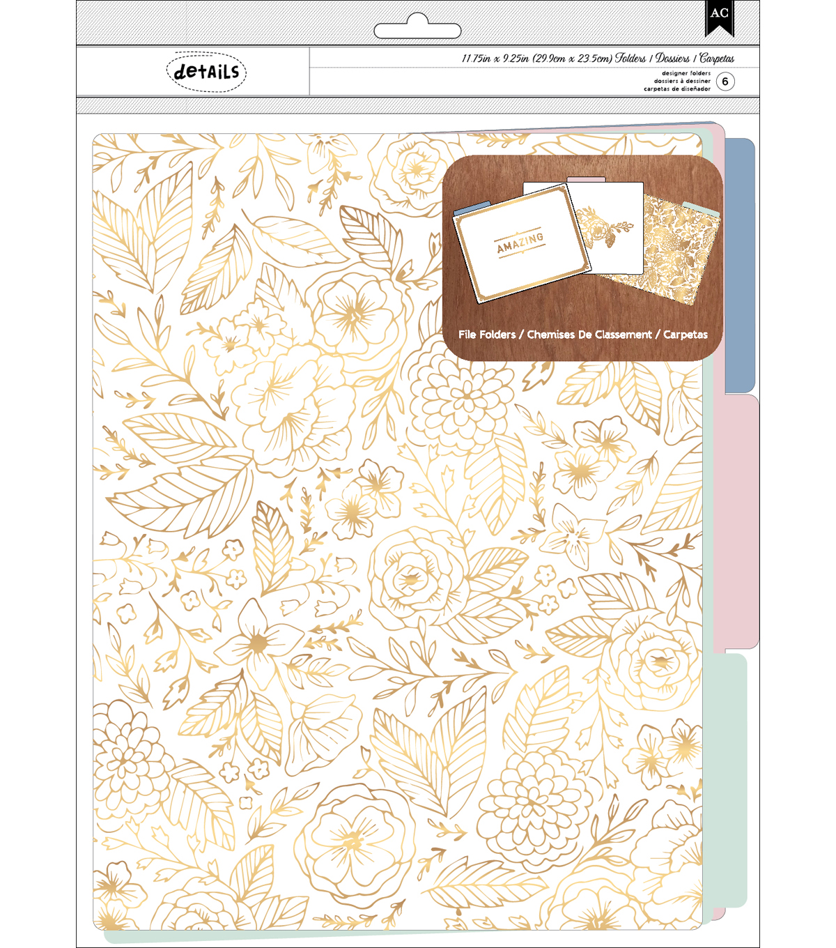 American Crafts™ Details Pack of 6 File Folders-Parisian Loft