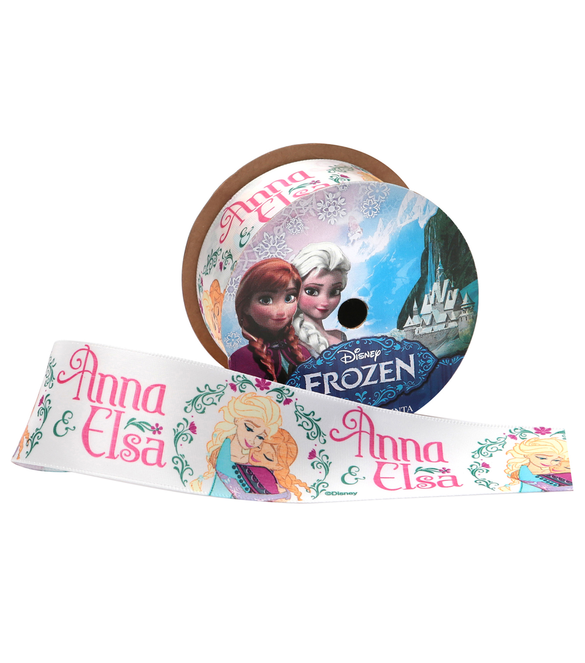 Offray 1.5\u0022x9\u0027 Frozen Anna and Elsa Character Single Faced Satin Ribbon-White