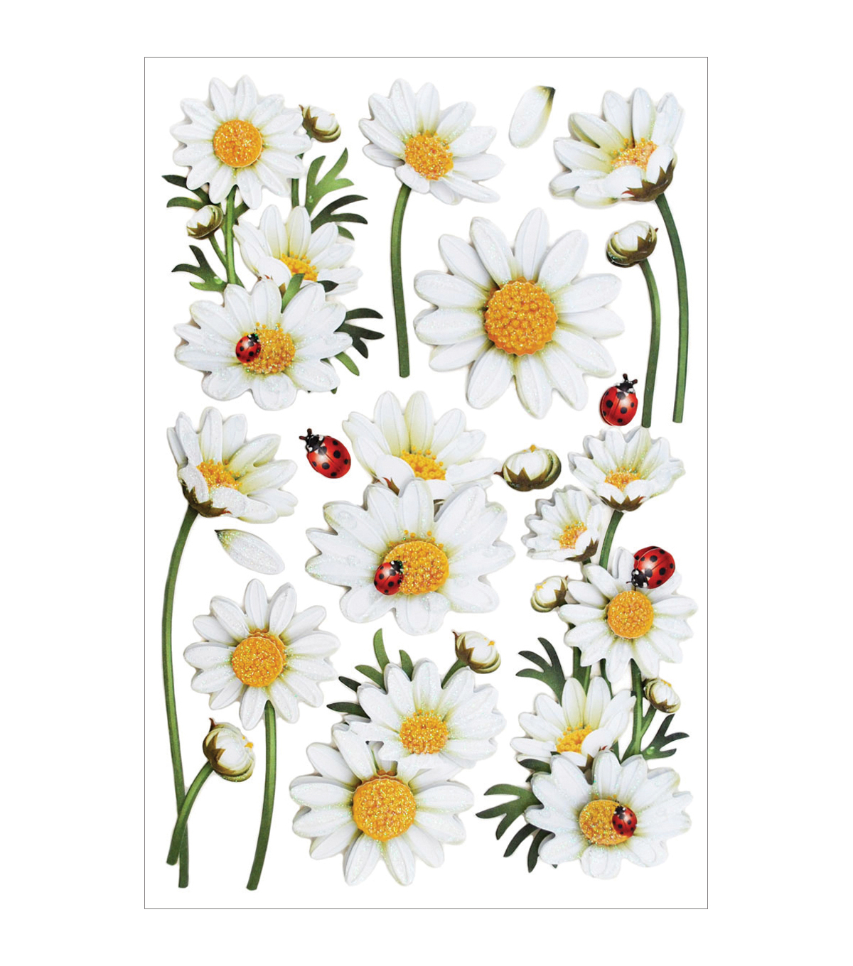 Forever In Time Glitter Daisies Foil Stickers Sheet