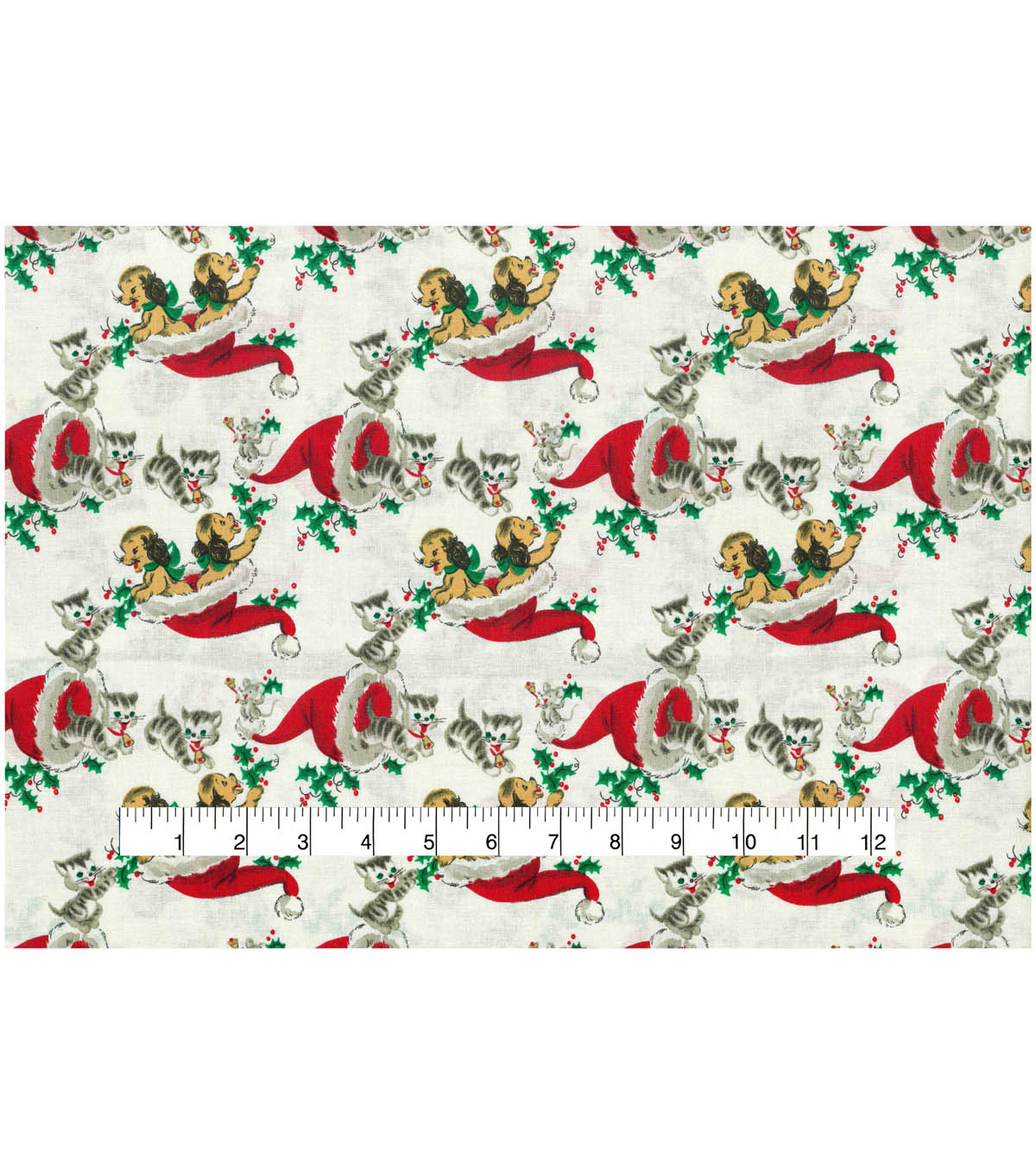 Christmas Cotton Fabric 43\u0022-Vintage Holiday Kittens