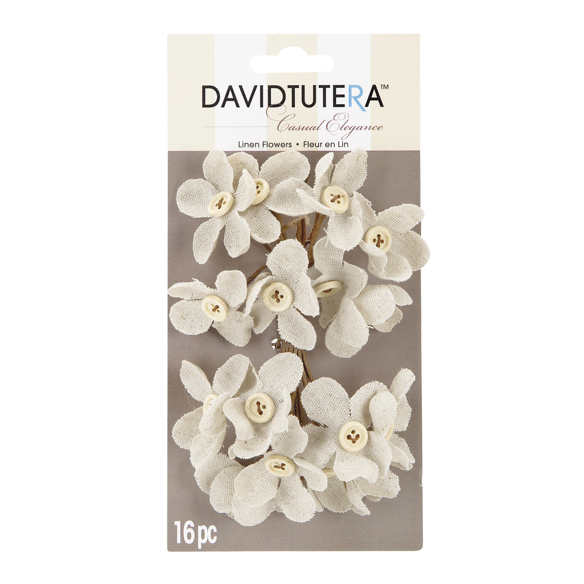 David Tutera™ Casual Elegance Cream Linen Flower Picks, Button Accent