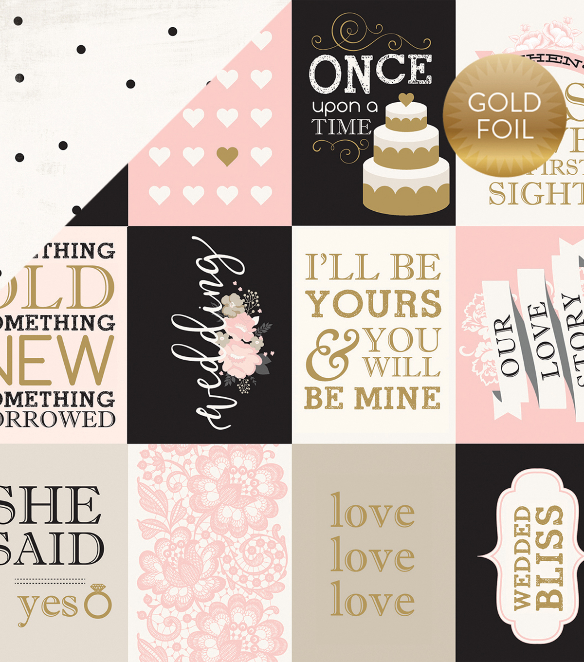 Wedding Bliss Foiled Cardstock 3\u0022X4\u0022 Journaling Cards