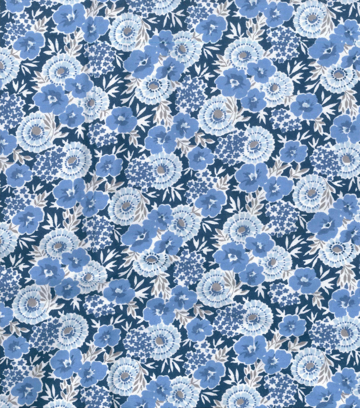 Wide Flannel Fabric 108\u0022-Blue Floral On Navy