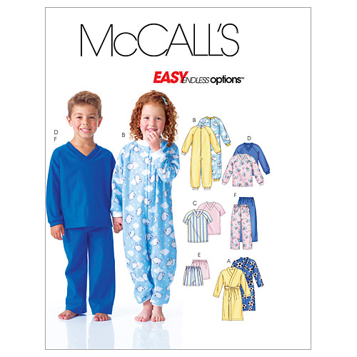 McCall\u0027s Pattern M6224 Children\u0027s Sleep & Lounge-Size 1-2-3