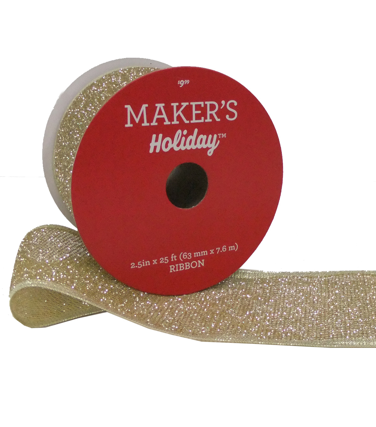 Maker's Holiday Christmas Glittered Mesh Ribbon 2.5''x25'-Gold