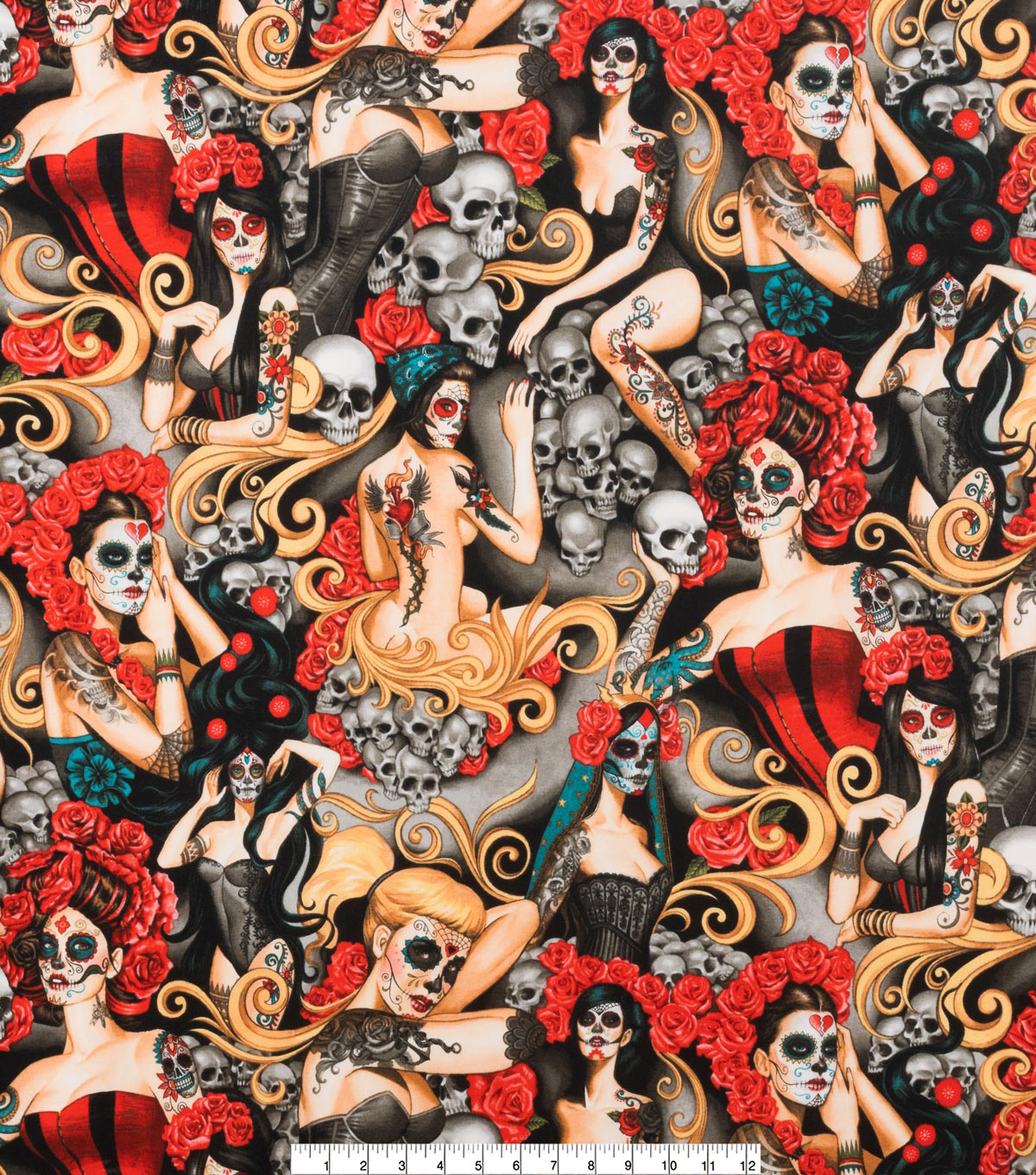 Novelty Cotton Fabric 45\u0022-Las Elegantes