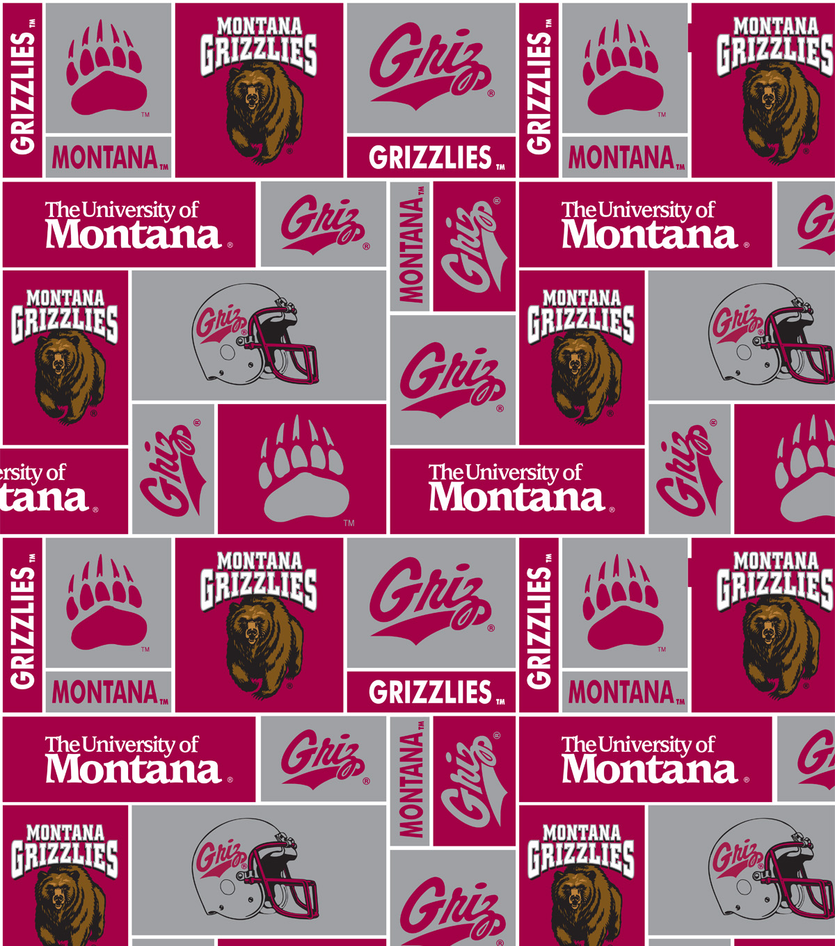 "University of Montana Grizzlies  Fleece Fabric 60""-Red & Gray Block"