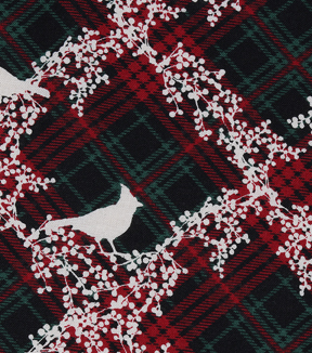 "Christmas Cotton Fabric 43""-Cardinal Berries Plaid"