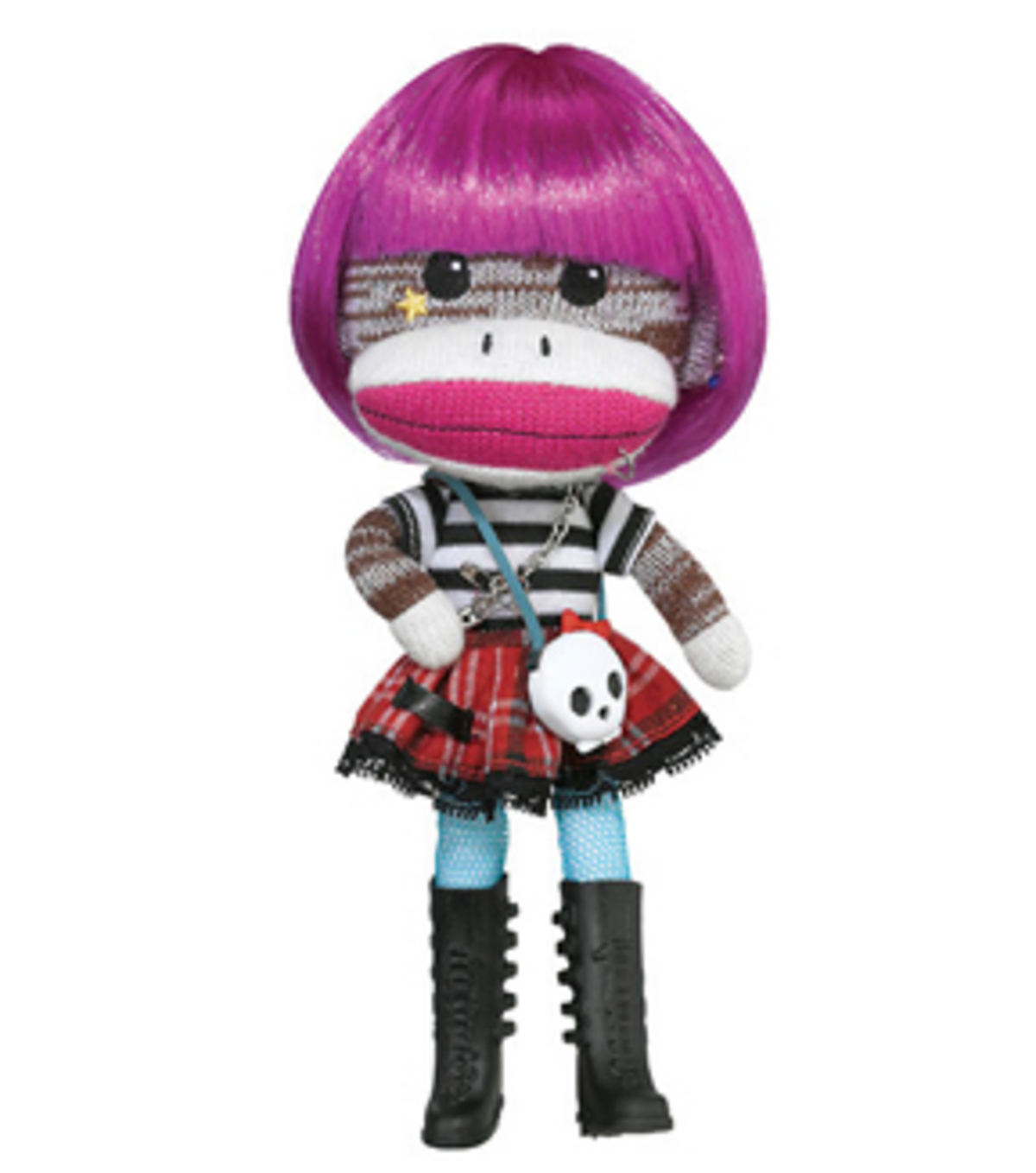 Magenta Beetsch Sock Monkey Doll