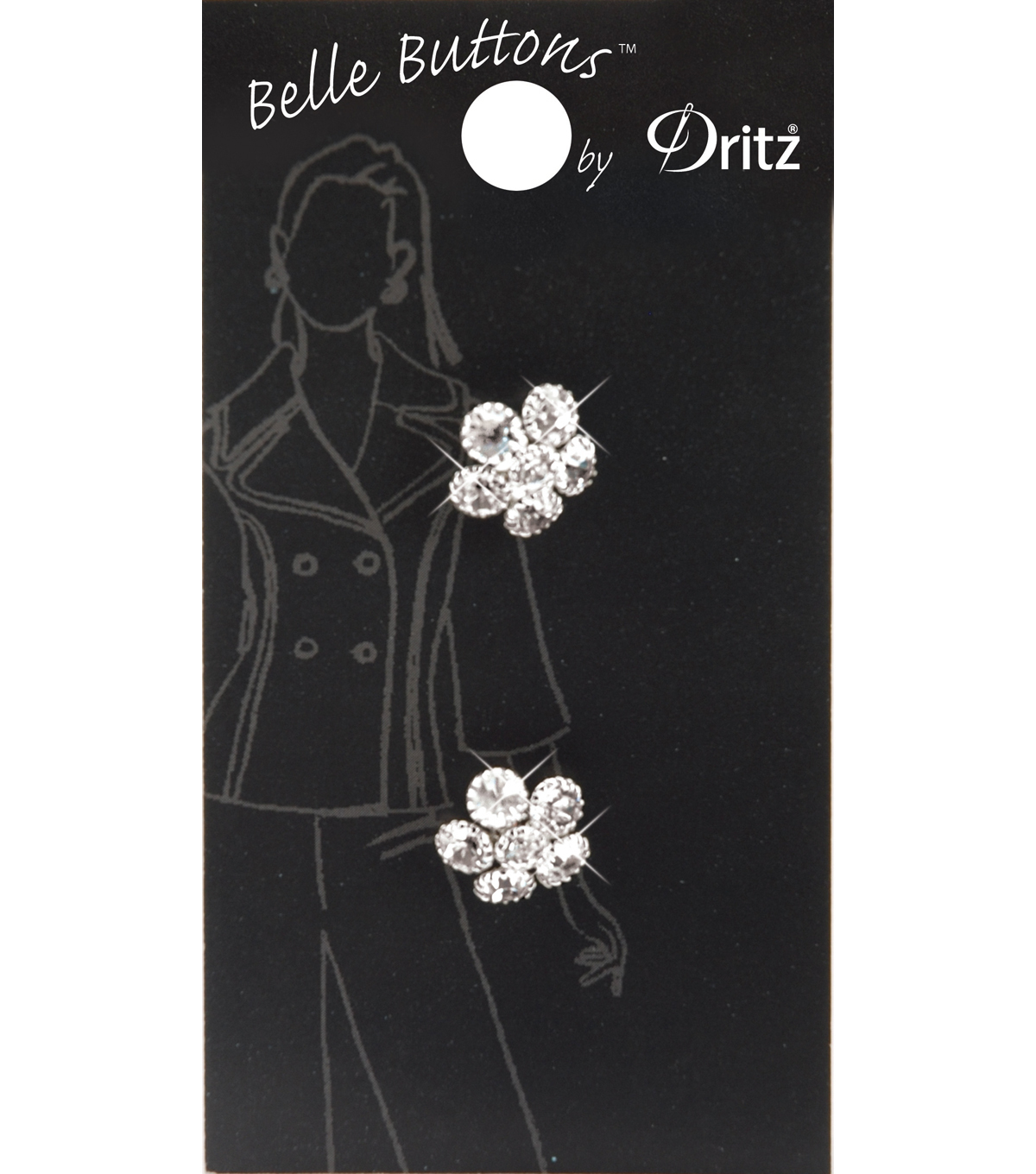 Belle Button-Rhinestone Flower 12Mm