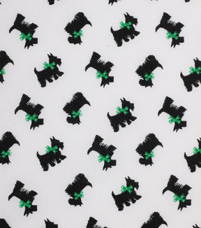 1930\u0027s Cotton Fabric 43\u0022-Scottie Dog Green Bow