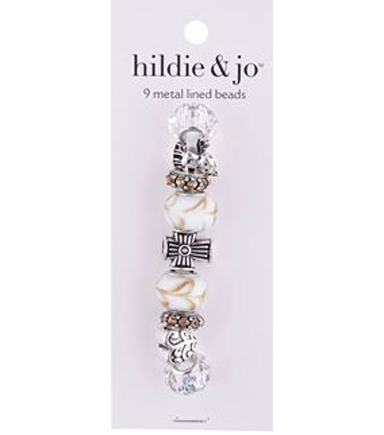 hildie & jo™ 9 Pack Metal Lined Glass Beads-Yellow & Clear