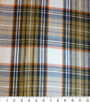 Perfectly Plaid Fabric-Acrylic Oatmeal Brown Chestnut