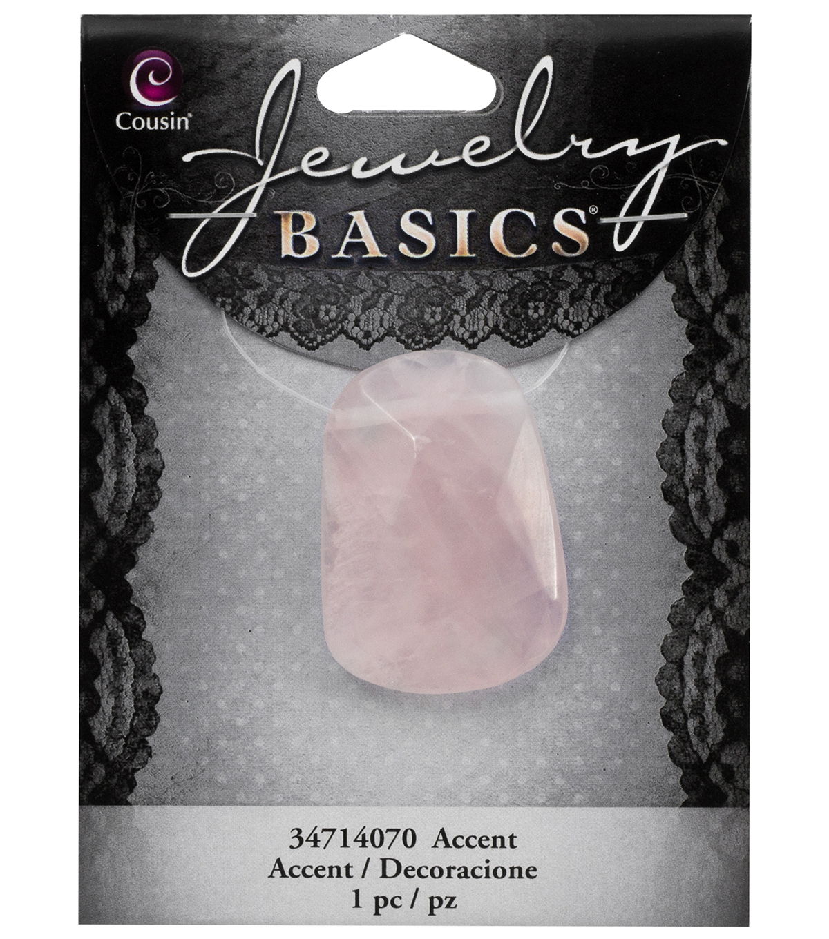 Cousin® Jewelry Basics Gemstone Accent Facet-Pink