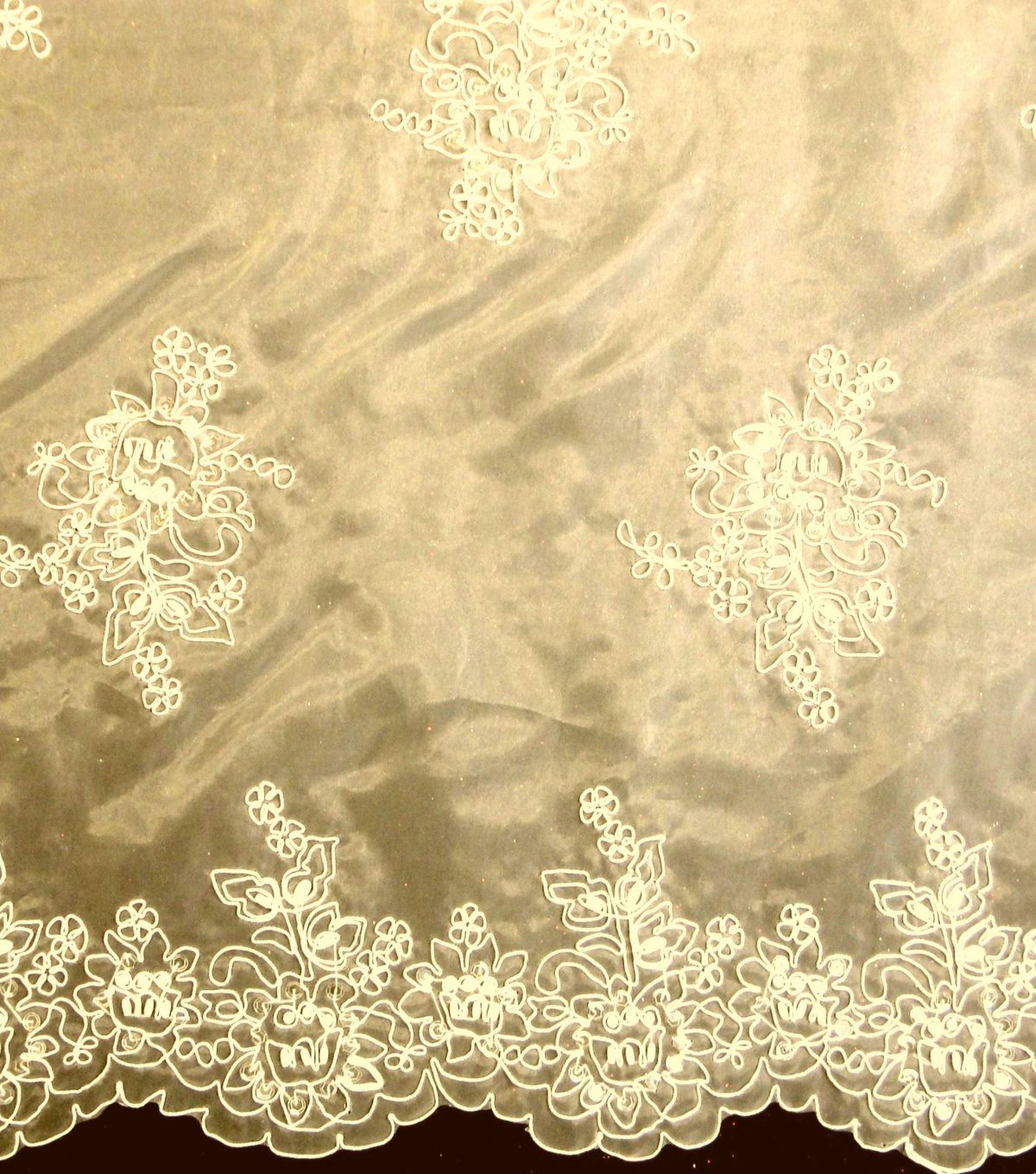 Designer Vault Bridal Fabric - Etched Glass Embroidered Organza Ecru
