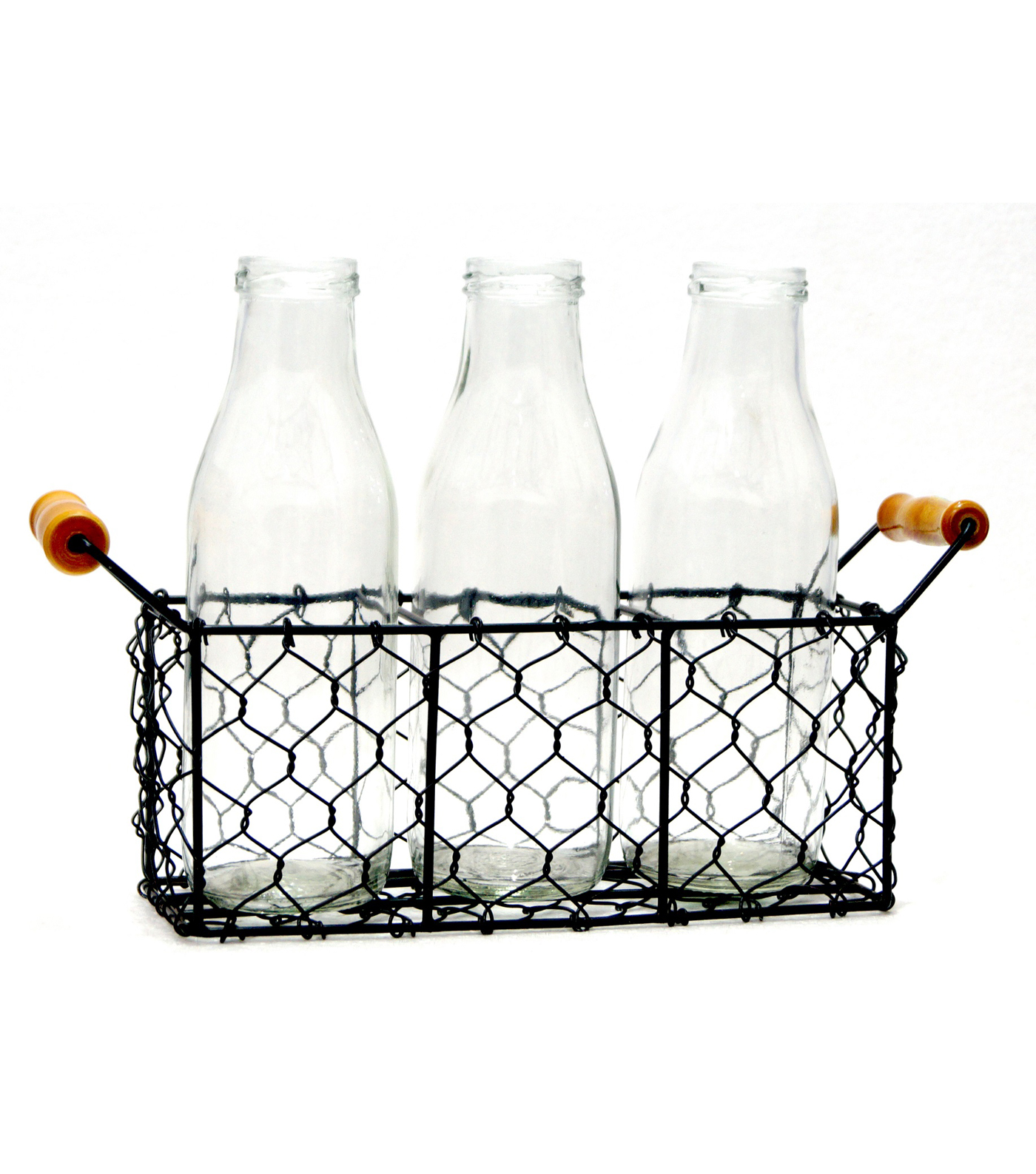 Hudson 43 Farm Chicken Wire Basket with Three Bottles