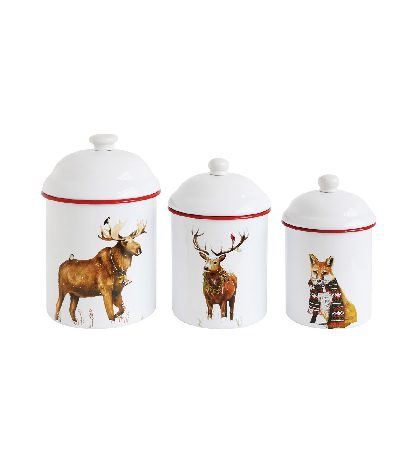 3R Studios Christmas 3 pk Round Enameled Canisters-Animal