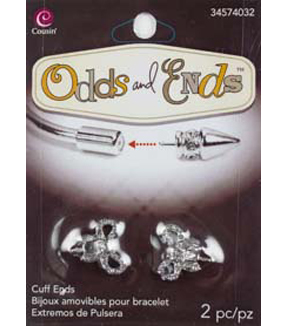 Odds & Ends Bangle Base Ends 2/Pkg-Silver Rhinestone Bow