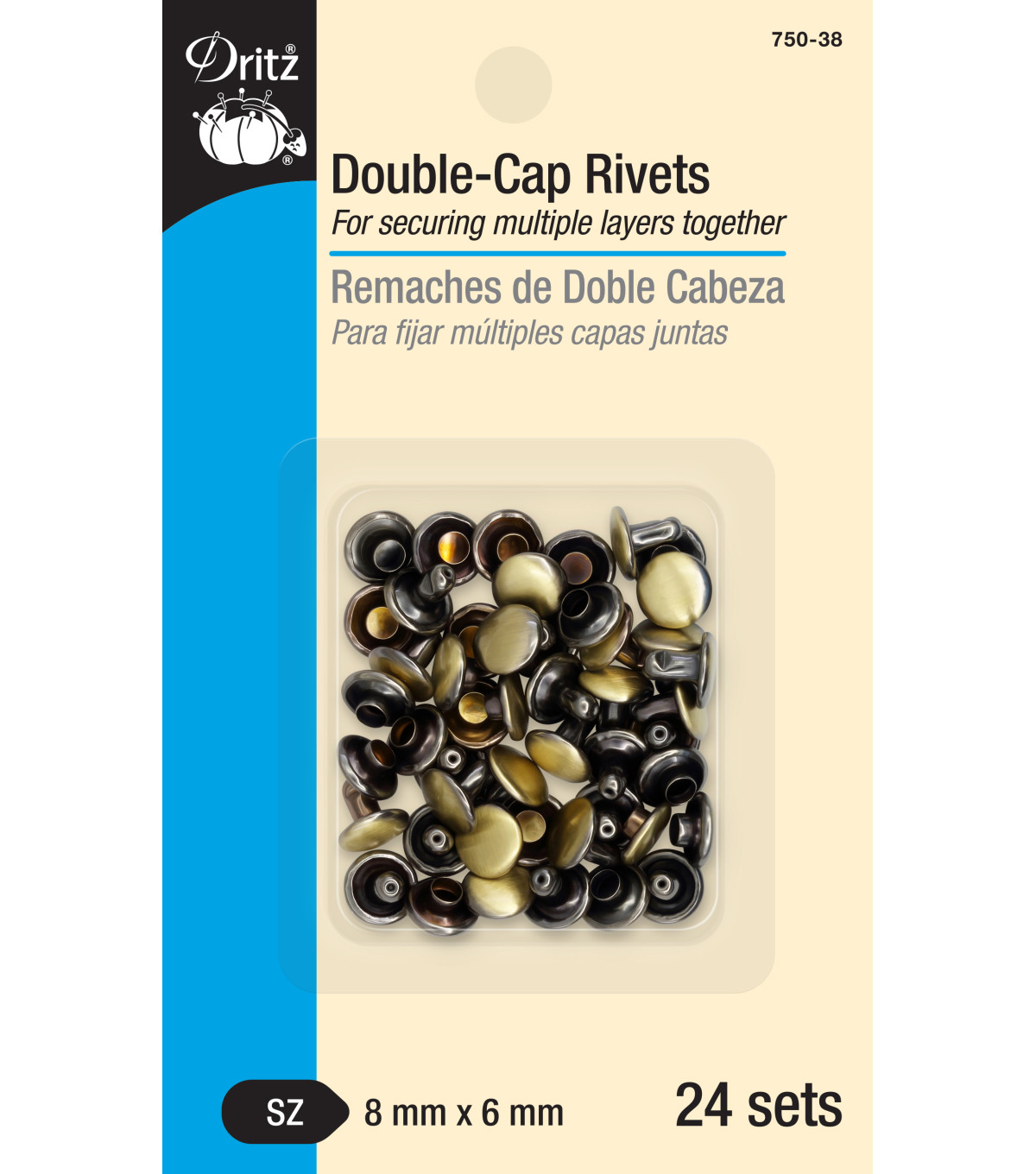 Dritz Double Cap Rivets-Brushed Antique Brass