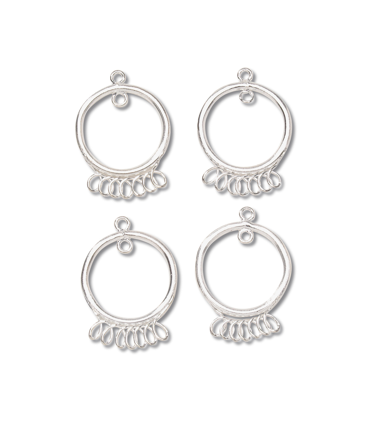 18mm Chandelier Earring Bases, 7 loops, Bright Silver, 4pc