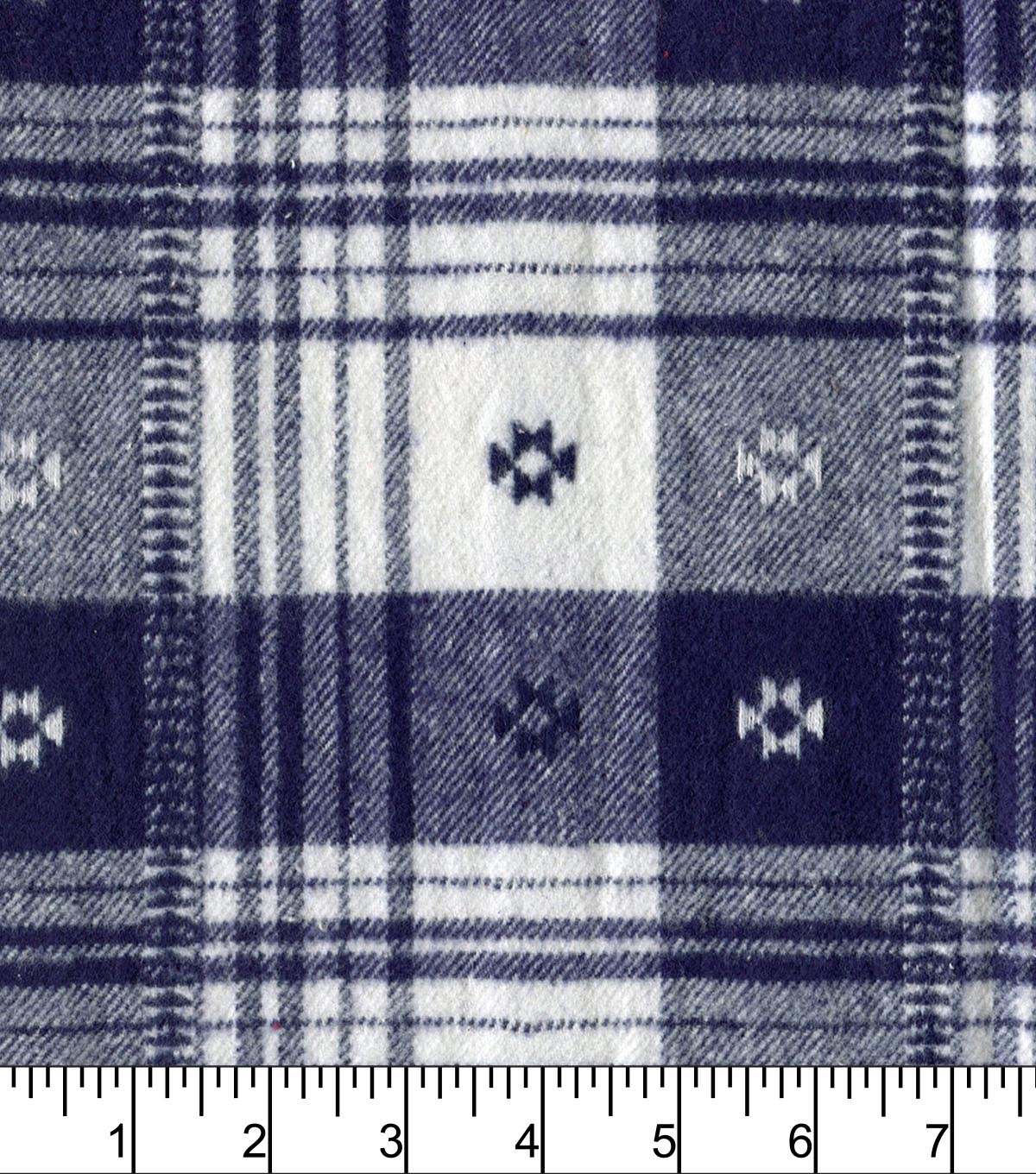 Plaiditudes Brushed Cotton Fabric 44\u0022-Southwest Navy