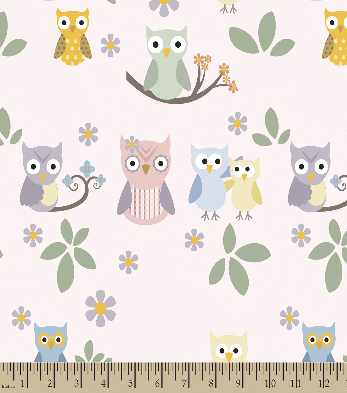 Family Owls Print Fabric