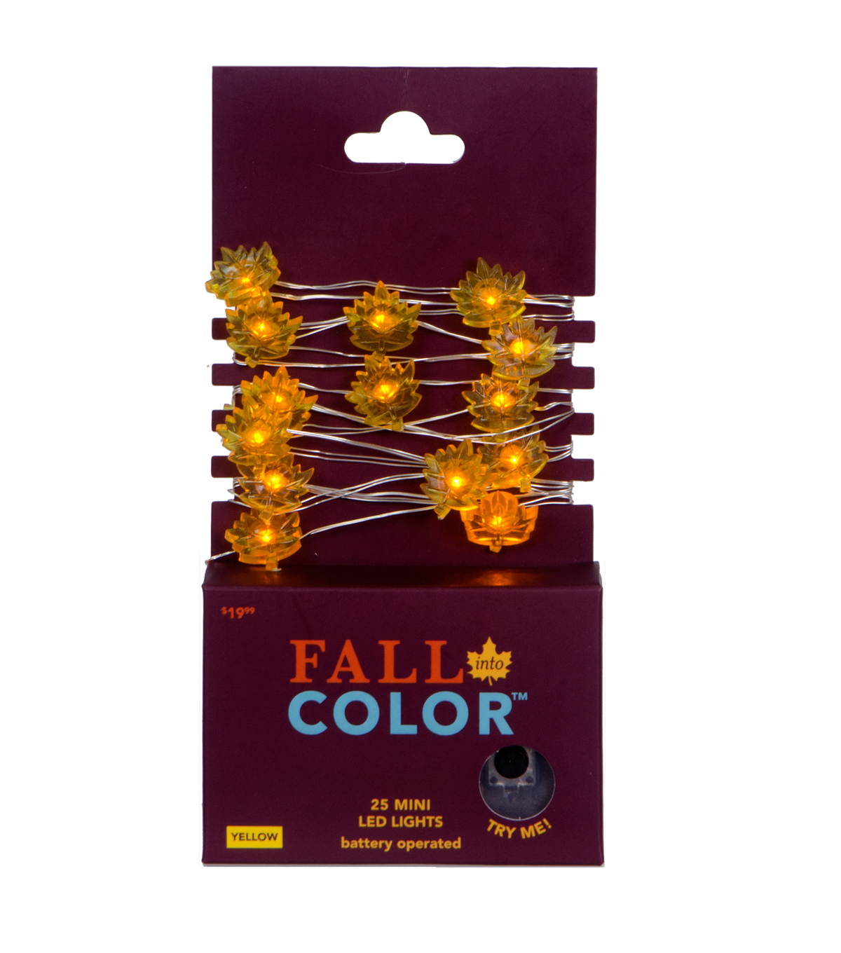 Fall Into Color 25 Count Leaf LED Light-Yellow with Silver Wire