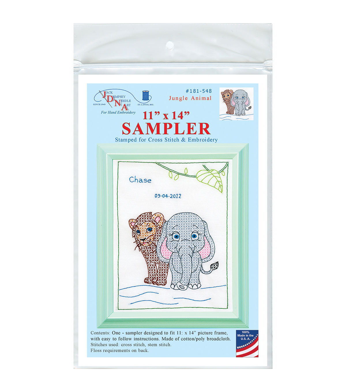 Jack Dempsey Jungle Animals Stamped White Sampler