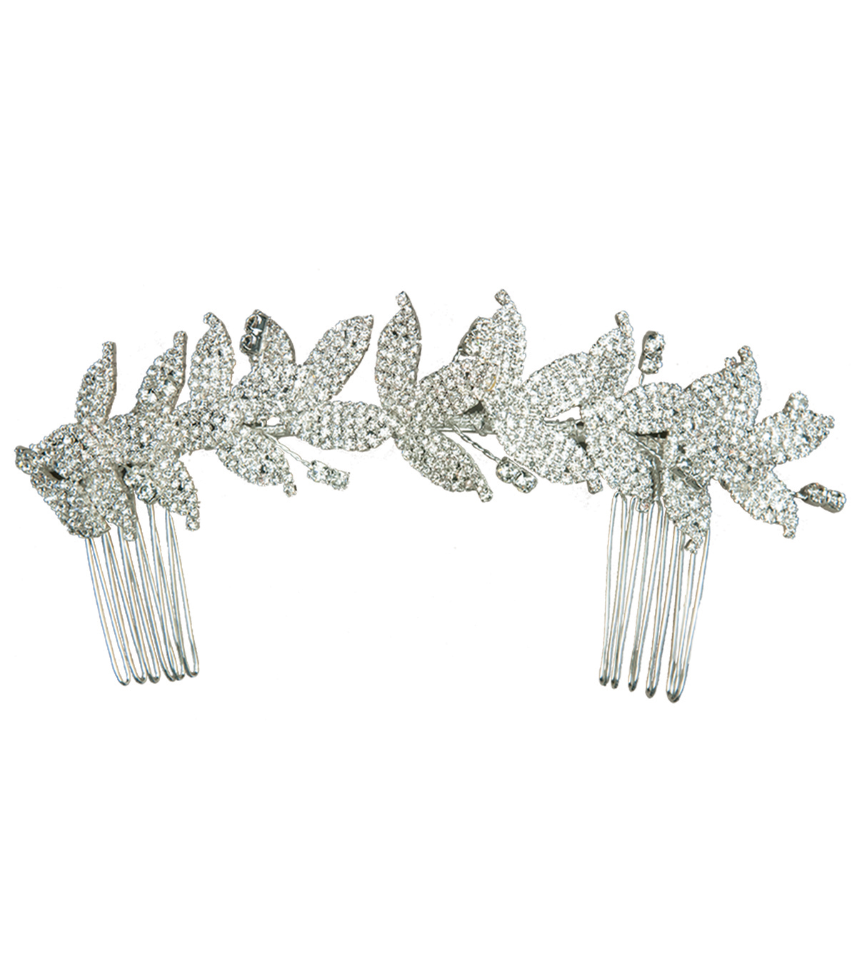 Save The Date™ Double Hair Comb-Silver Leaf