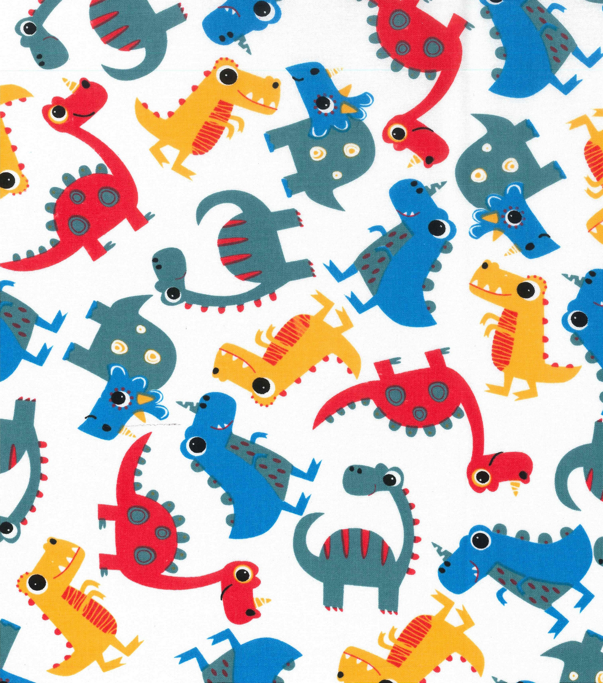 Novelty Cotton Fabric 43\u0022-Tossed Dinos