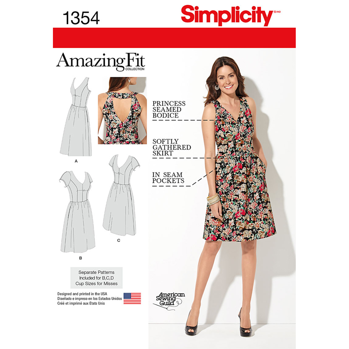 Simplicity Pattern 1354AA 10-12-14-1-Misses Dresses