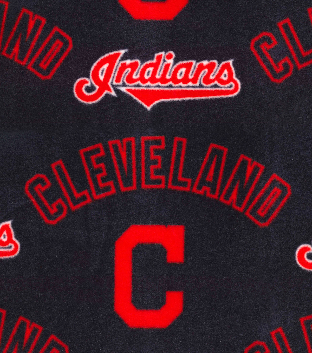 Cleveland Indians Fleece Fabric 58\u0022-New Block C