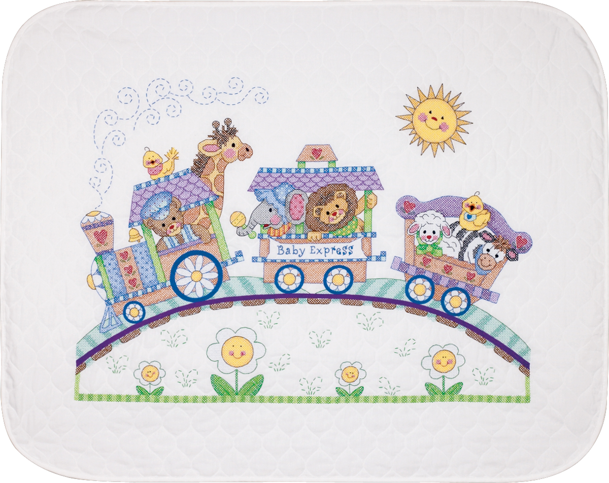 "Baby Hugs Baby Express Quilt Stamped Cross Stitch Kit-43""X34"""