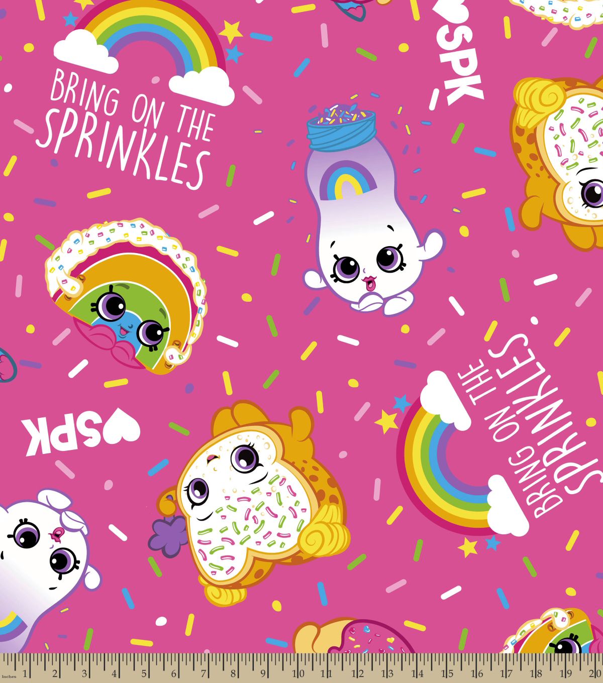 Shopkins Fleece Fabric 59\u0022-Bring on the Sprinkles